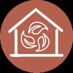Icon eines Hauses, indem drei Blätter sind, das für nachhaltiges Heizen bei Hafnertec steht