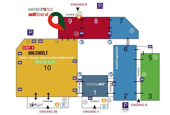 Lageplan des Messegeländes der Messe Bauen und Wohnen