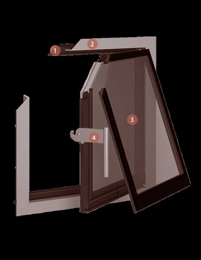 Foto einer GFD Glastüre mit Nummerierung