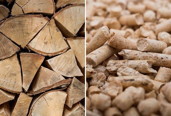 Foto von Stückholz und Pellets