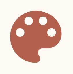 Icon einer Farbpalette, die für Farbe steht
