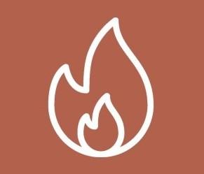 Icon einer Flamme, die für Feuer steht