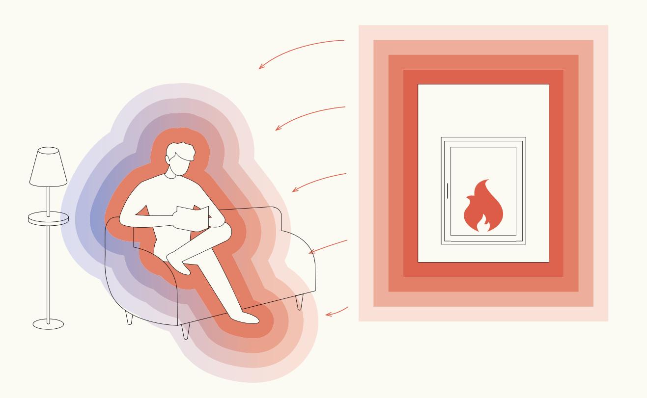 Grafik einer Person neben einem Kachelofen, der Infrarotstrahlung abgibt