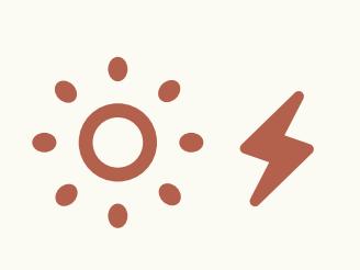 Icon einer Sonne und eines Blitzes, die für eine Photovoltaikanlage stehen