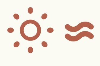 Icon einer Sonne und von Lichtwellen, die für eine thermische Solaranlage stehen